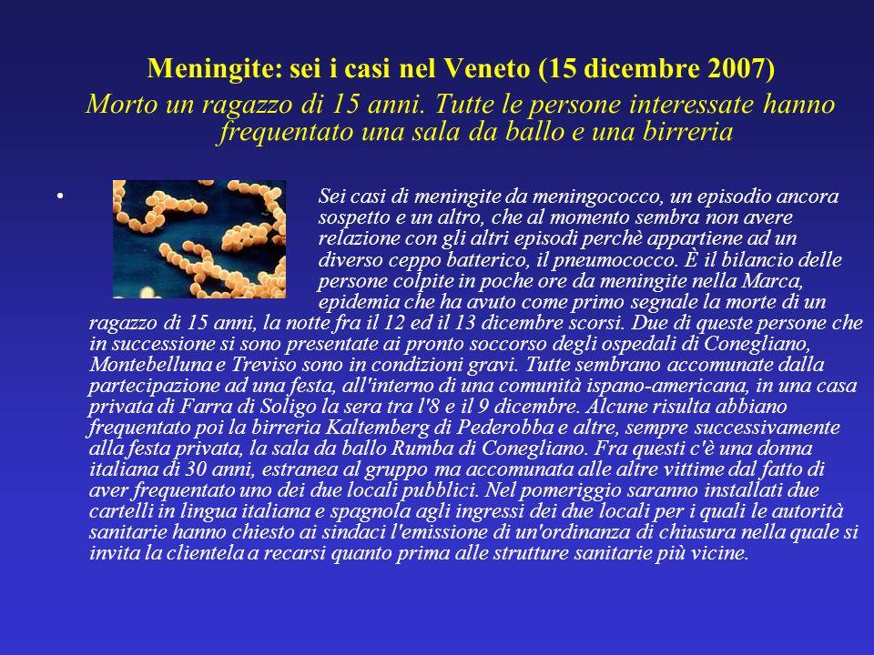 Meningite: sei i casi nel Veneto (15 dicembre 2007) Morto un ragazzo di 15 anni. Tutte le persone interessate hanno frequentato una sala da ballo e un