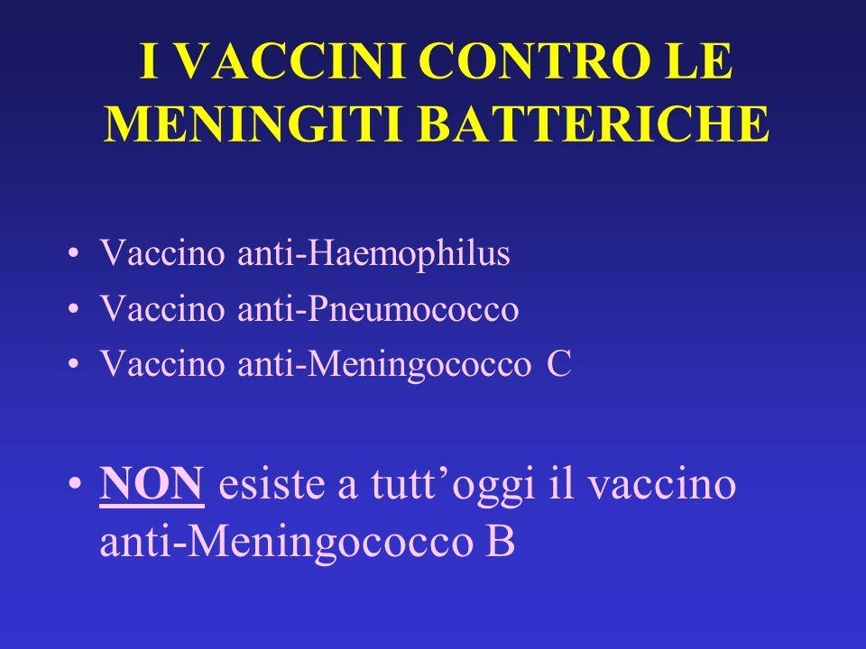 Vaccino anti-Haemophilus Vaccino anti-Pneumococco Vaccino anti-Meningococco C NON esiste a tuttoggi il vaccino anti-Meningococco B