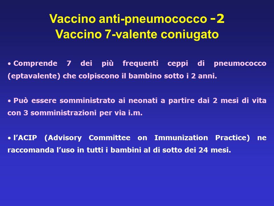 Vaccino anti-pneumococco -2 Vaccino 7-valente coniugato Comprende 7 dei più frequenti ceppi di pneumococco (eptavalente) che colpiscono il bambino sot