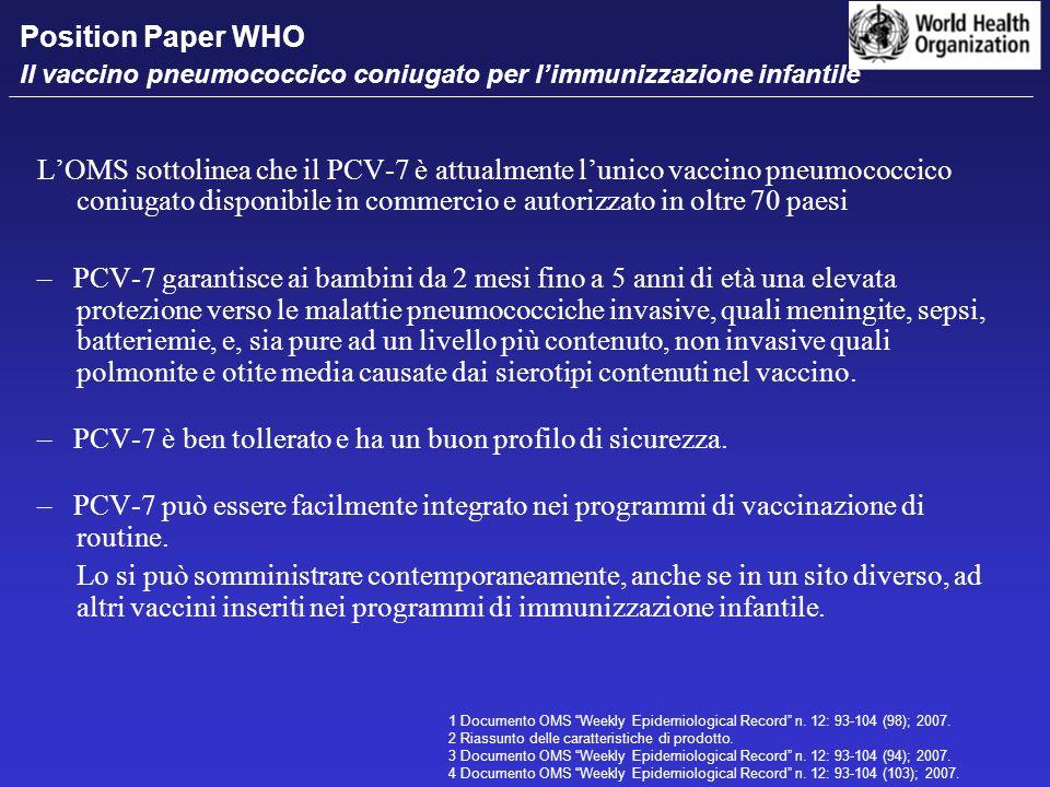 LOMS sottolinea che il PCV-7 è attualmente lunico vaccino pneumococcico coniugato disponibile in commercio e autorizzato in oltre 70 paesi – PCV-7 gar