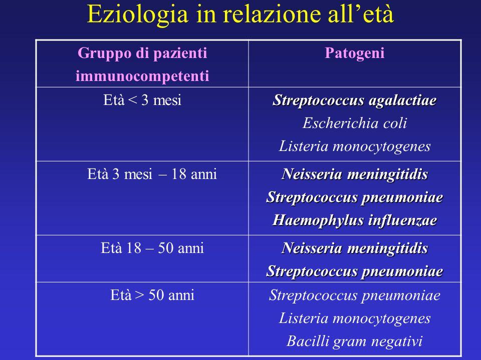 Forme particolari di meningite Gruppo di pazientiPatogeni Immunodepressi Listeria monocytogenes Bacilli gram negativi Funghi Trauma cranico Intervento neurochirurgico Derivazione ventricolo- peritoneale Stafilococchi Streptococcus pneumoniae Bacilli gram negativi