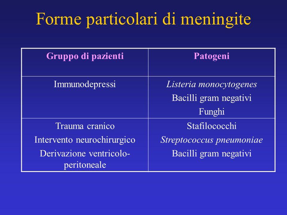 Forme particolari di meningite Gruppo di pazientiPatogeni Immunodepressi Listeria monocytogenes Bacilli gram negativi Funghi Trauma cranico Intervento
