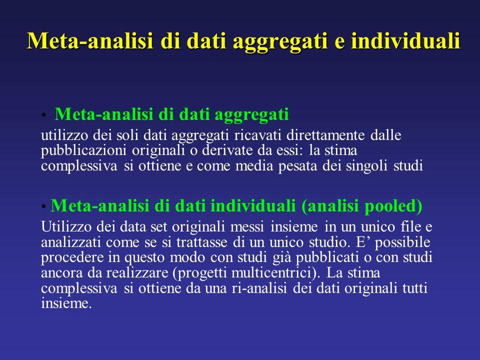 Meta-analisi di dati aggregati e individuali Meta-analisi di dati aggregati utilizzo dei soli dati aggregati ricavati direttamente dalle pubblicazioni