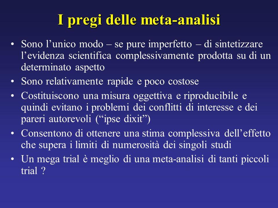 I pregi delle meta-analisi Sono lunico modo – se pure imperfetto – di sintetizzare levidenza scientifica complessivamente prodotta su di un determinat