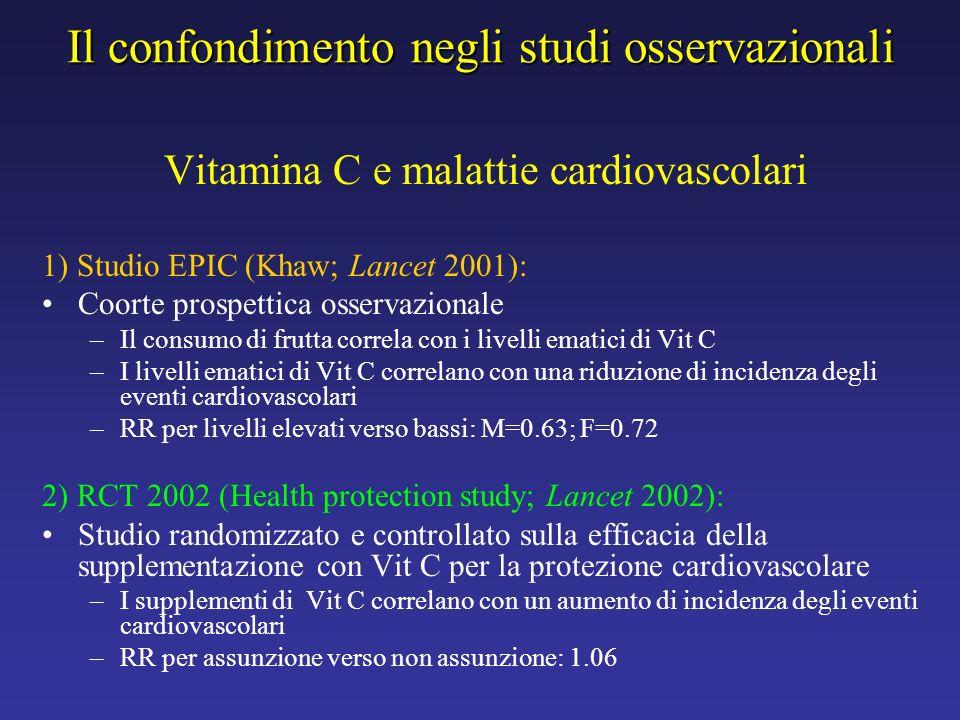Il confondimento negli studi osservazionali Vitamina C e malattie cardiovascolari 1) Studio EPIC (Khaw; Lancet 2001): Coorte prospettica osservazional