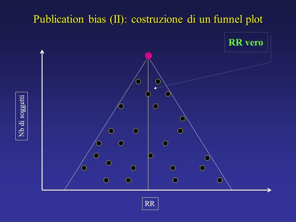 Publication bias (II): costruzione di un funnel plot RR Nb di soggetti RR vero