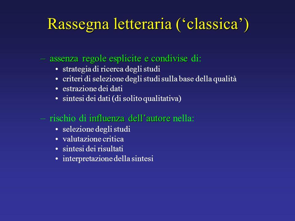 Rassegna letteraria (classica) –assenza regole esplicite e condivise –assenza regole esplicite e condivise di: strategia di ricerca degli studi criter