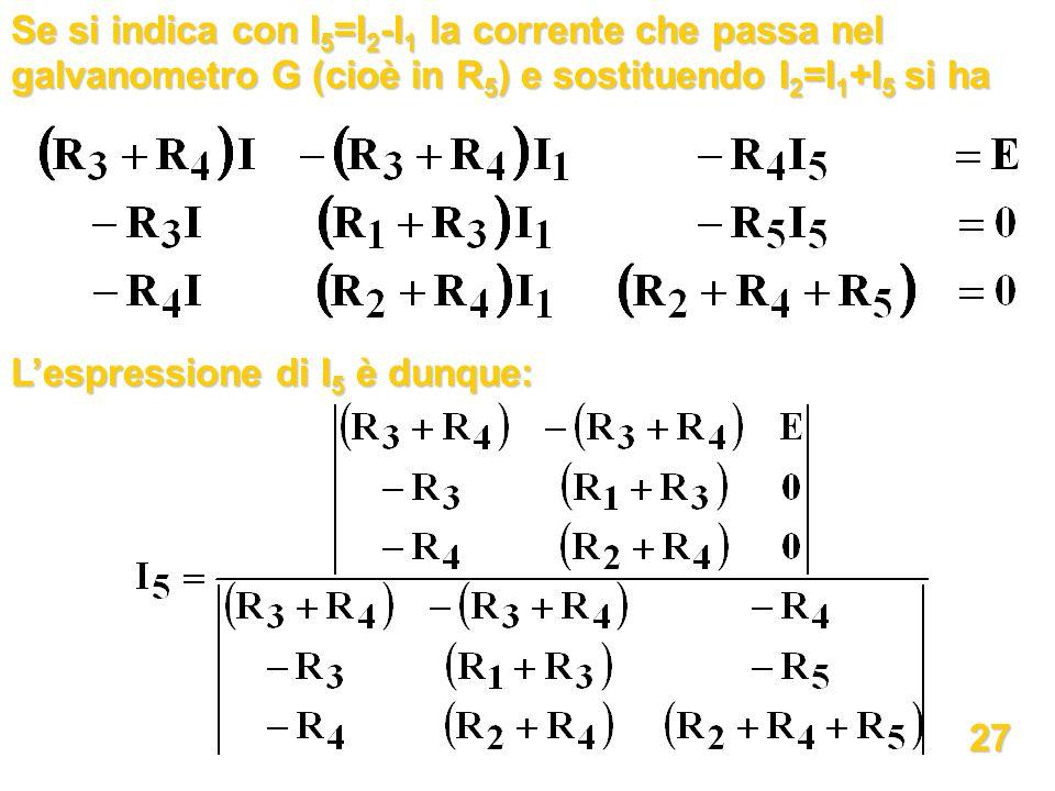 Se si indica con I 5 =I 2 -I 1 la corrente che passa nel galvanometro G (cioè in R 5 ) e sostituendo I 2 =I 1 +I 5 si ha Lespressione di I 5 è dunque: