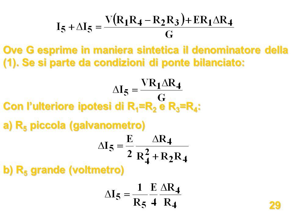 Ove G esprime in maniera sintetica il denominatore della (1). Se si parte da condizioni di ponte bilanciato: Con lulteriore ipotesi di R 1 =R 2 e R 3
