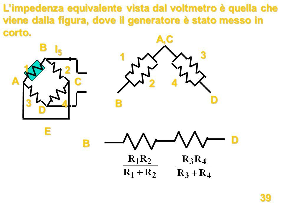 Limpedenza equivalente vista dal voltmetro è quella che viene dalla figura, dove il generatore è stato messo in corto. 1 2 3 4 E I5I5I5I5 A B C D B D