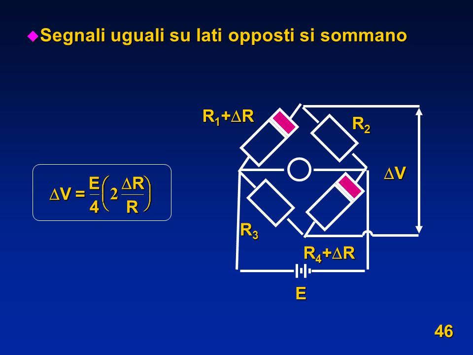 u Segnali uguali su lati opposti si sommano V= E 4 R R 2 R 1 + R R 4 + R V R2R2R2R2 R3R3R3R3 E 46