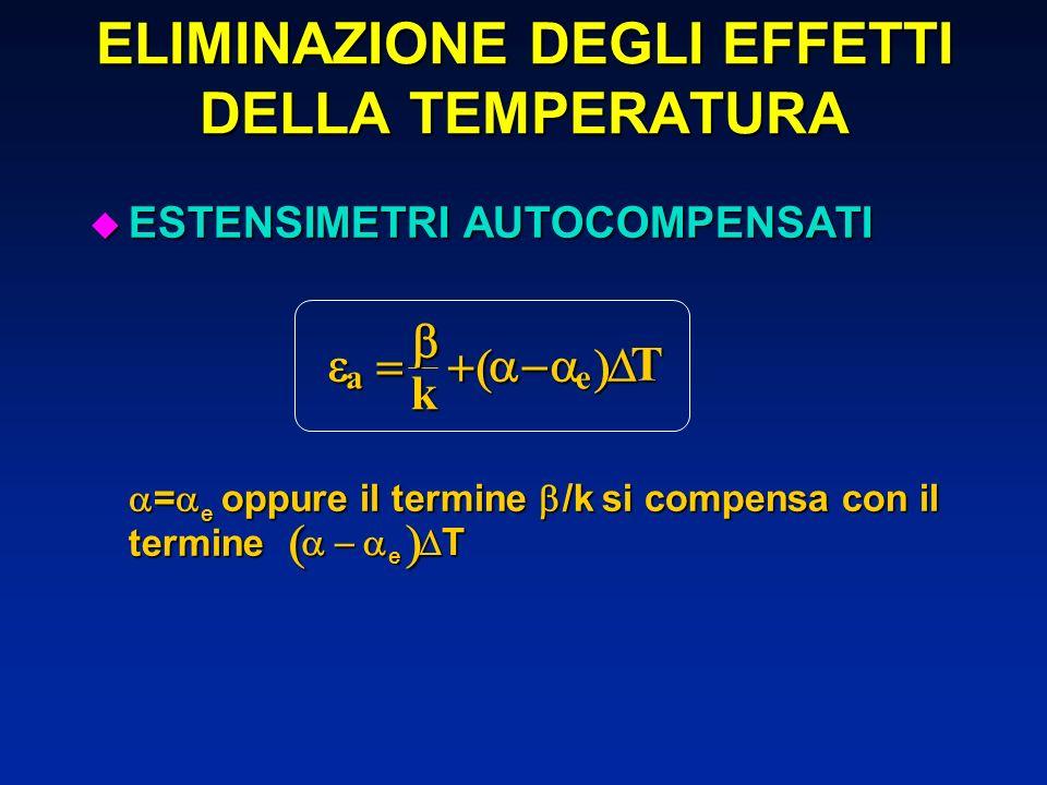 u ESTENSIMETRI AUTOCOMPENSATI = e oppure il termine /k si compensa con il termine = e oppure il termine /k si compensa con il termine ELIMINAZIONE DEG