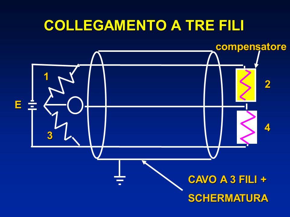 COLLEGAMENTO A TRE FILI 1 2 3 4 CAVO A 3 FILI + SCHERMATURAcompensatoreE