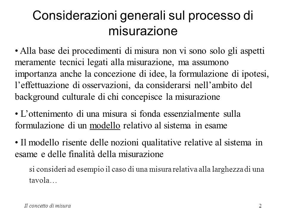 2 Considerazioni generali sul processo di misurazione Alla base dei procedimenti di misura non vi sono solo gli aspetti meramente tecnici legati alla