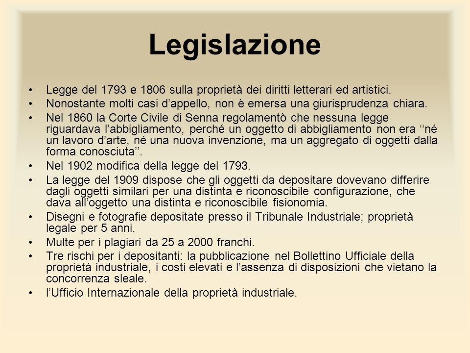Legislazione Legge del 1793 e 1806 sulla proprietà dei diritti letterari ed artistici. Nonostante molti casi dappello, non è emersa una giurisprudenza