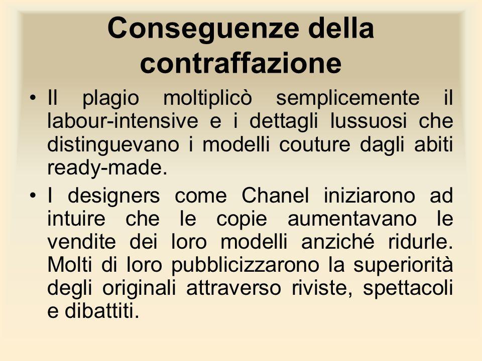 Conseguenze della contraffazione Il plagio moltiplicò semplicemente il labour-intensive e i dettagli lussuosi che distinguevano i modelli couture dagl