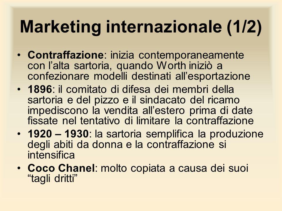 Marketing internazionale (1/2) Contraffazione: inizia contemporaneamente con lalta sartoria, quando Worth iniziò a confezionare modelli destinati alle