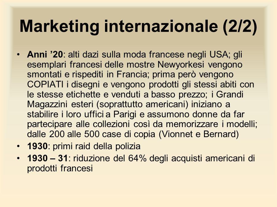 Marketing internazionale (2/2) Anni 20: alti dazi sulla moda francese negli USA; gli esemplari francesi delle mostre Newyorkesi vengono smontati e ris