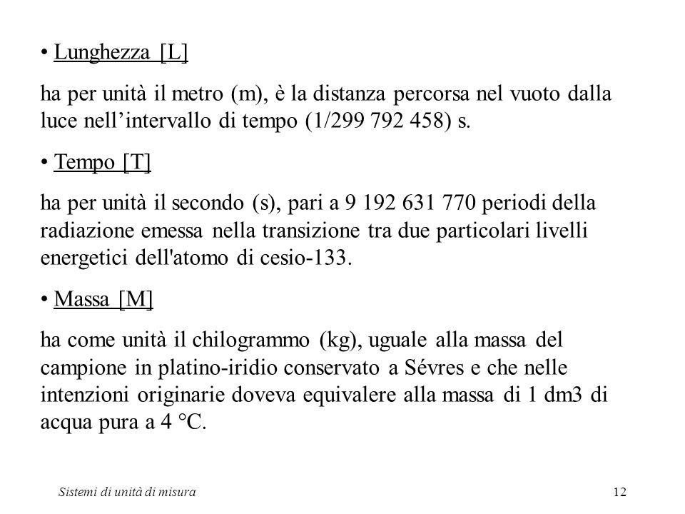 Sistemi di unità di misura12 Lunghezza [L] ha per unità il metro (m), è la distanza percorsa nel vuoto dalla luce nellintervallo di tempo (1/299 792 4