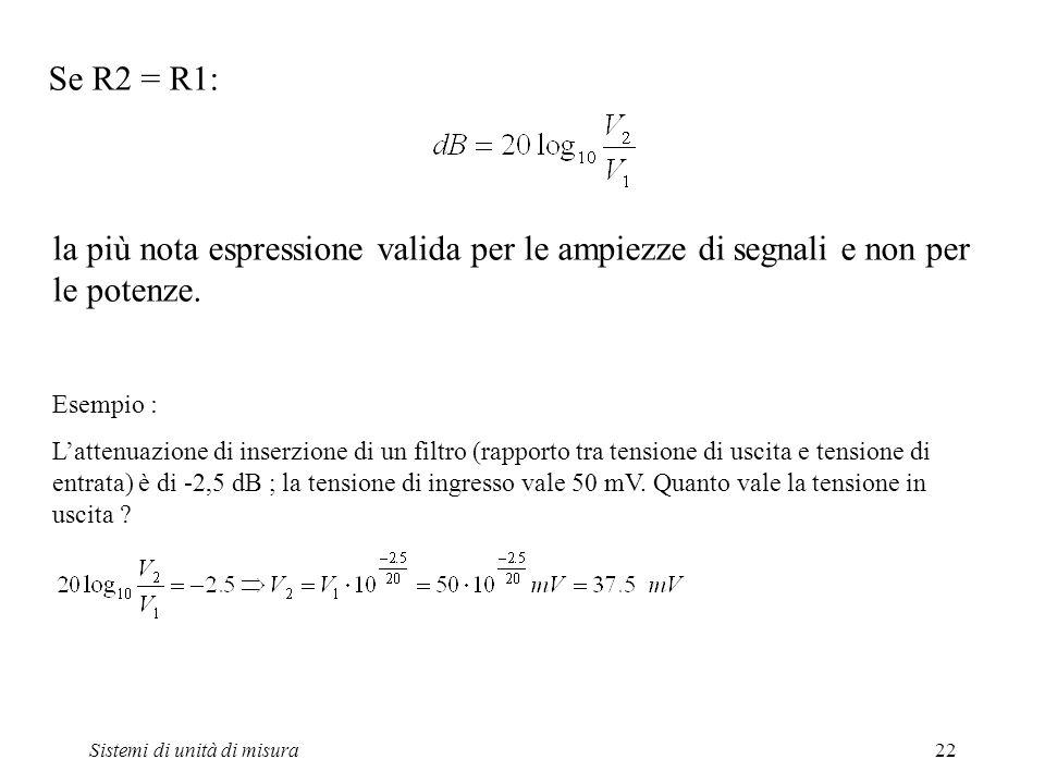 Sistemi di unità di misura22 Se R2 = R1: la più nota espressione valida per le ampiezze di segnali e non per le potenze. Esempio : Lattenuazione di in