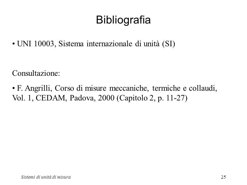 Sistemi di unità di misura25 Bibliografia UNI 10003, Sistema internazionale di unità (SI) Consultazione: F. Angrilli, Corso di misure meccaniche, term