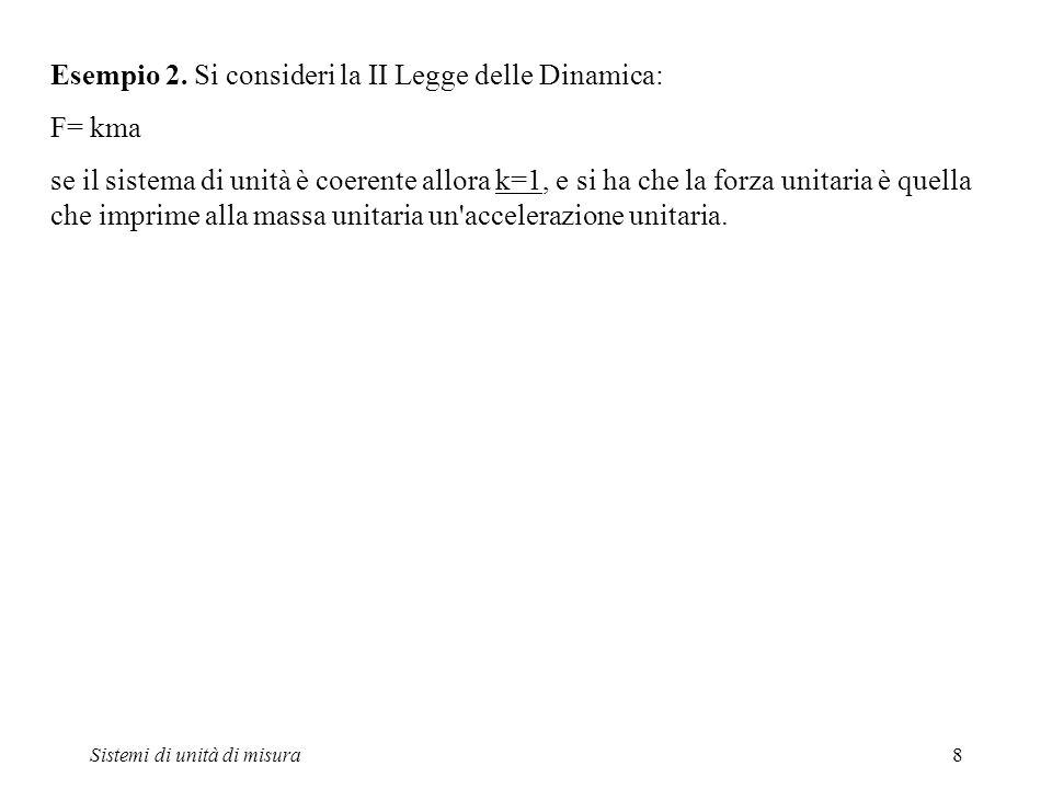 Sistemi di unità di misura8 Esempio 2. Si consideri la II Legge delle Dinamica: F= kma se il sistema di unità è coerente allora k=1, e si ha che la fo
