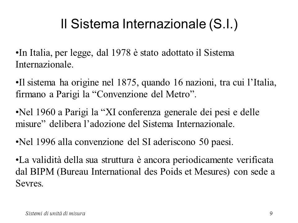 Sistemi di unità di misura9 Il Sistema Internazionale (S.I.) In Italia, per legge, dal 1978 è stato adottato il Sistema Internazionale. Il sistema ha