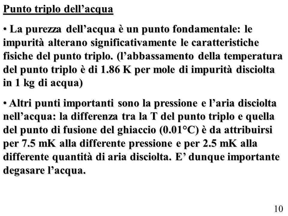 10 Punto triplo dellacqua La purezza dellacqua è un punto fondamentale: le impurità alterano significativamente le caratteristiche fisiche del punto t
