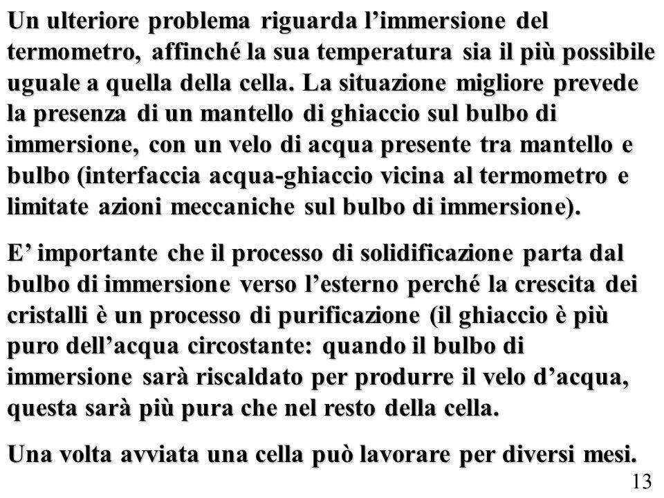 13 Un ulteriore problema riguarda limmersione del termometro, affinché la sua temperatura sia il più possibile uguale a quella della cella. La situazi