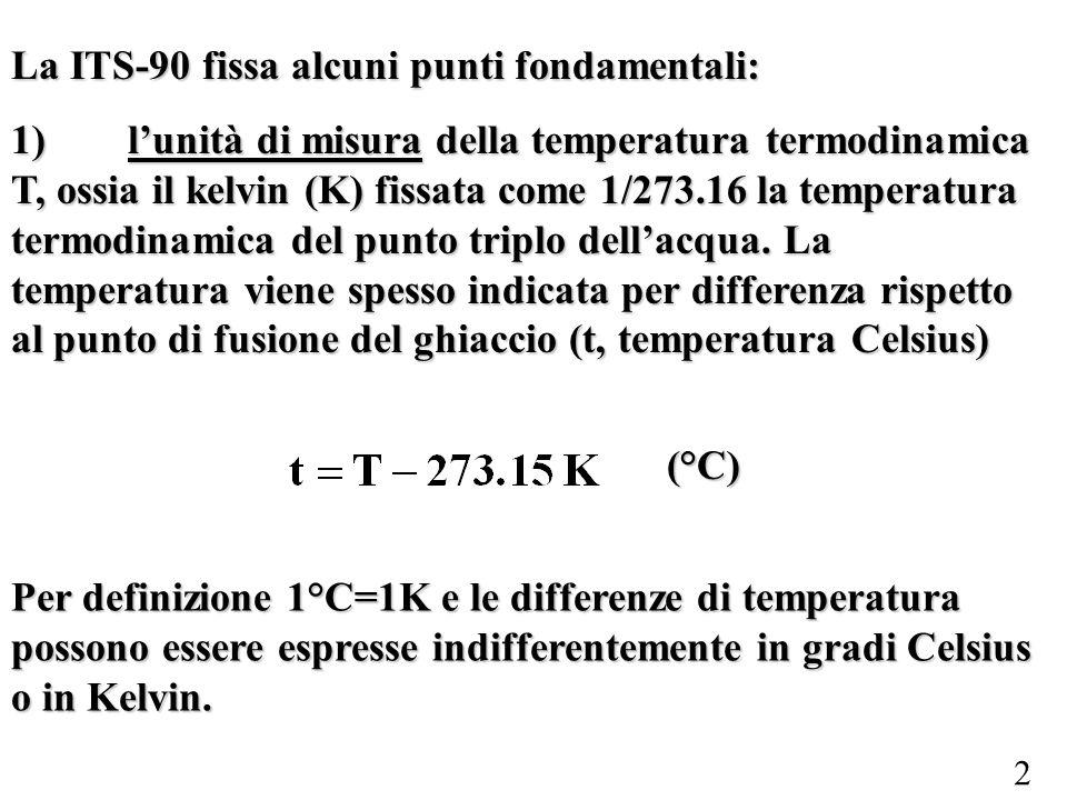 2 La ITS-90 fissa alcuni punti fondamentali: 1) lunità di misura della temperatura termodinamica T, ossia il kelvin (K) fissata come 1/273.16 la tempe