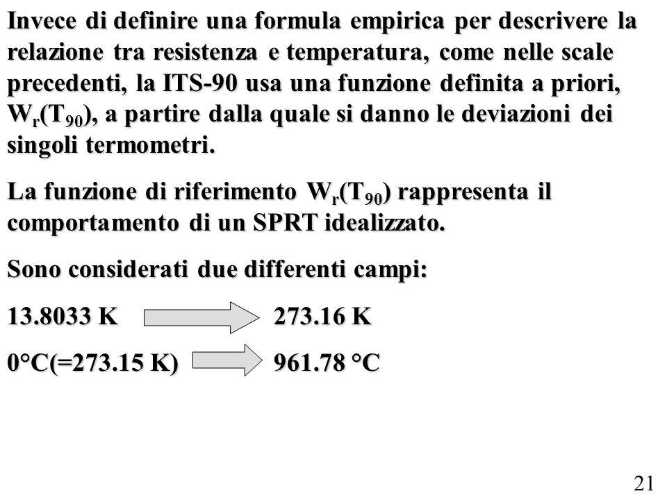 21 Invece di definire una formula empirica per descrivere la relazione tra resistenza e temperatura, come nelle scale precedenti, la ITS-90 usa una fu