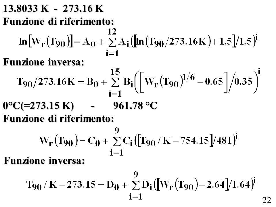 22 13.8033 K - 273.16 K Funzione di riferimento: Funzione inversa: 0°C(=273.15 K) -961.78 °C Funzione di riferimento: Funzione inversa: