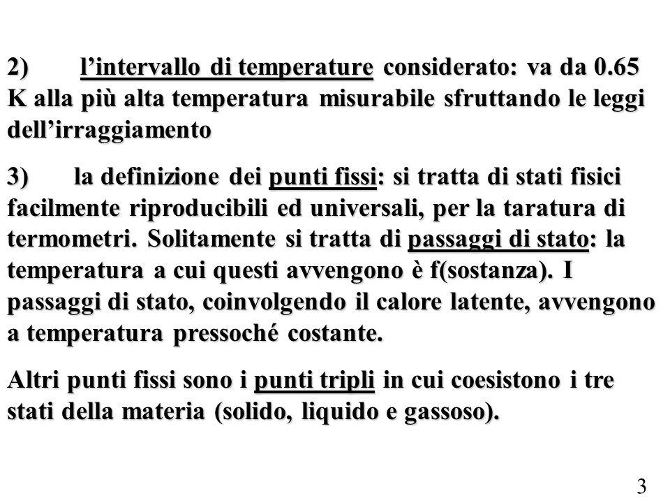 3 2) lintervallo di temperature considerato: va da 0.65 K alla più alta temperatura misurabile sfruttando le leggi dellirraggiamento 3)la definizione