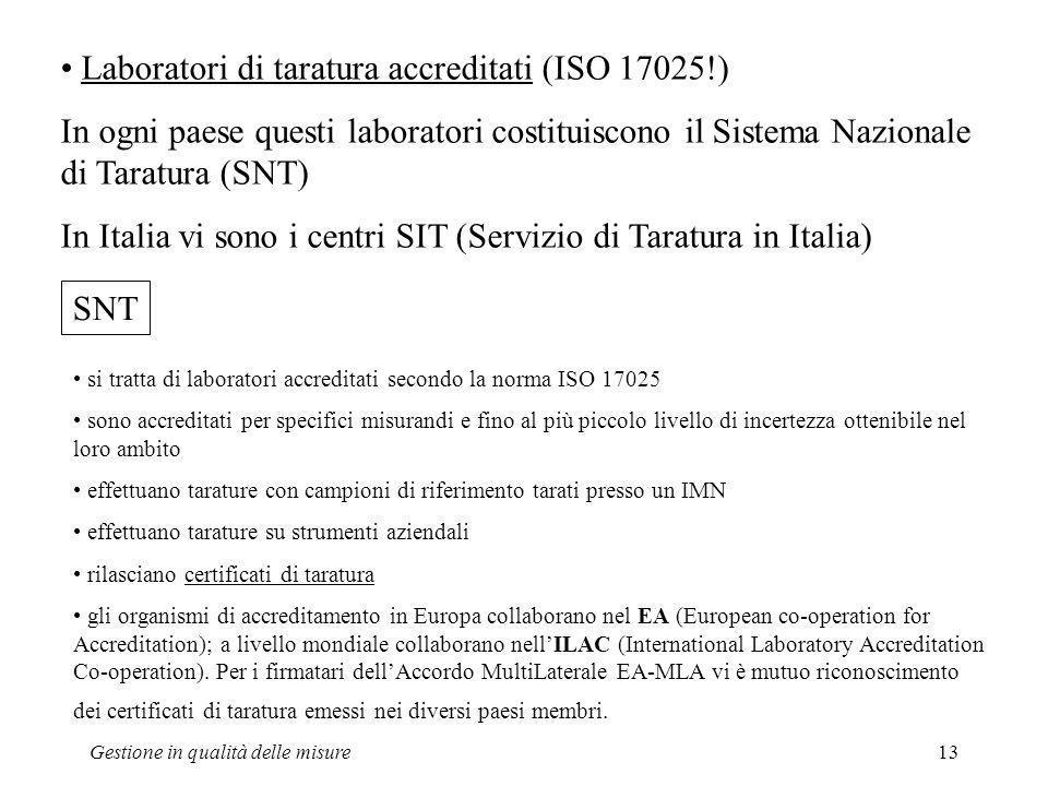 Gestione in qualità delle misure13 Laboratori di taratura accreditati (ISO 17025!) In ogni paese questi laboratori costituiscono il Sistema Nazionale