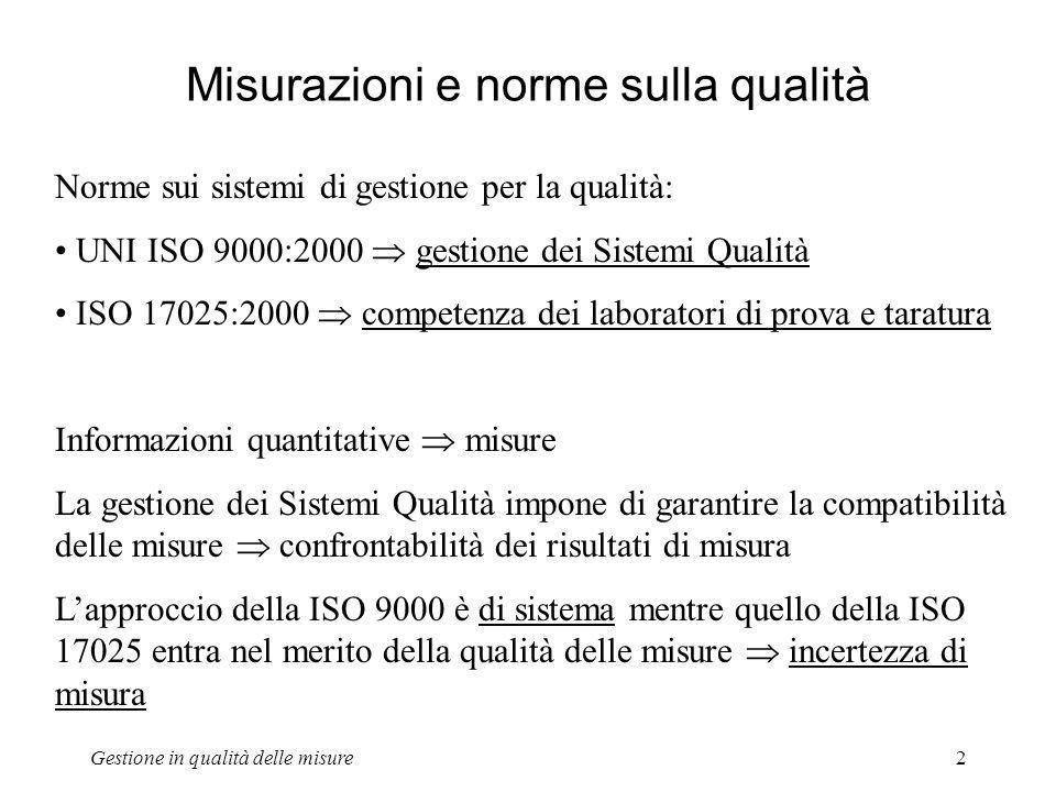 Gestione in qualità delle misure2 Misurazioni e norme sulla qualità Norme sui sistemi di gestione per la qualità: UNI ISO 9000:2000 gestione dei Siste