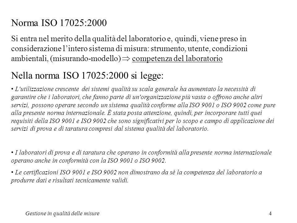 Gestione in qualità delle misure4 Norma ISO 17025:2000 Si entra nel merito della qualità del laboratorio e, quindi, viene preso in considerazione lint