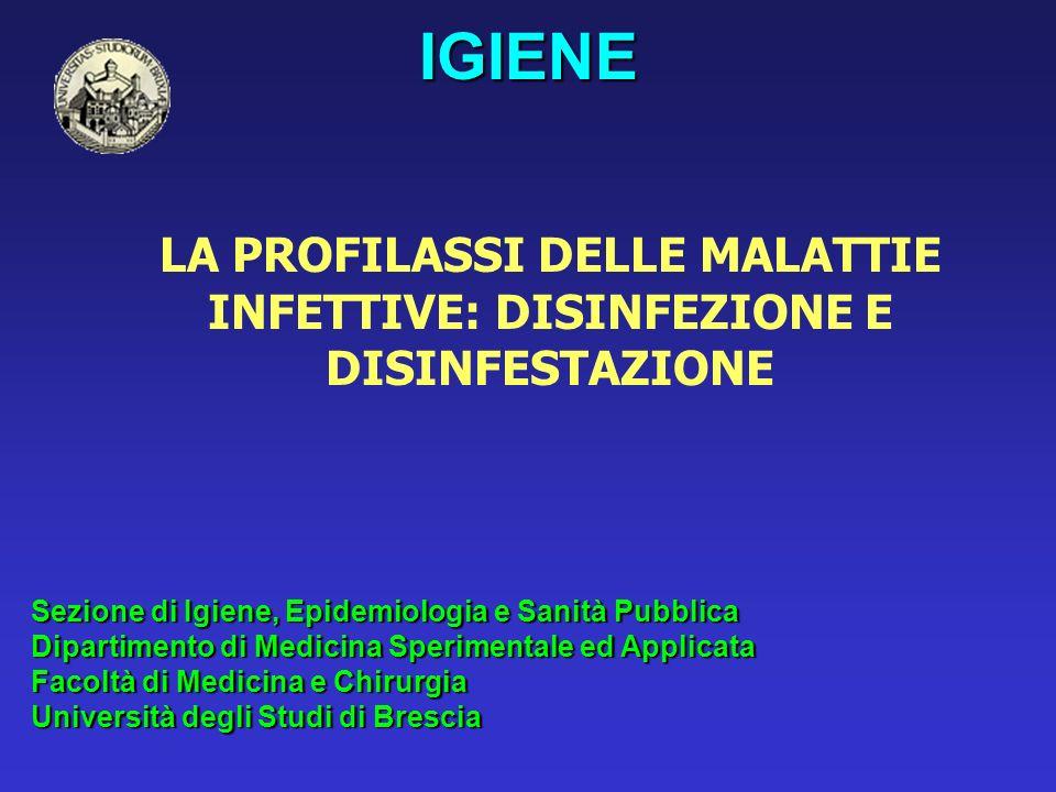 Contenuto di alcune preparazioni disinfettanti del commercio Hibitant gluconatoClorexidina HibiscrubClorexidina + detergenti SaulonClorexidina + cetrimide Cidexglutardeide Dibaglutardeide Amuchinaipocloriti Antisaprilipocloriti Bactofentensioattivo (benzalconio cloruro) Bialcol tensioattivo (cloruro di dodecil.di (biossetil)- benzilammonio Desogen tensioattivo (metossisolfato di a (p-tolil)- -dodecil-trimetilammonio Betadineiodoforo