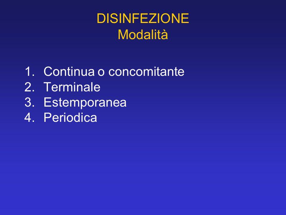 DISINFEZIONE Modalità 1.Continua o concomitante 2.Terminale 3.Estemporanea 4.Periodica