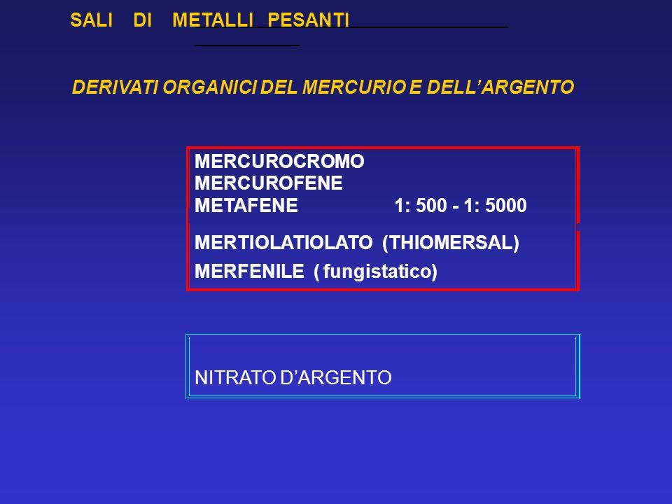 SALI DI METALLI PESANTI DERIVATI ORGANICI DEL MERCURIO E DELLARGENTO MERCUROCROMO MERCUROFENE METAFENE 1: 500 - 1: 5000 MERTIOLATIOLATO (THIOMERSAL) M