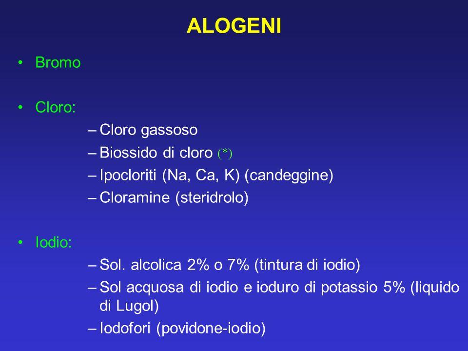 ALOGENI Bromo Cloro: –Cloro gassoso –Biossido di cloro (*) –Ipocloriti (Na, Ca, K) (candeggine) –Cloramine (steridrolo) Iodio: –Sol. alcolica 2% o 7%