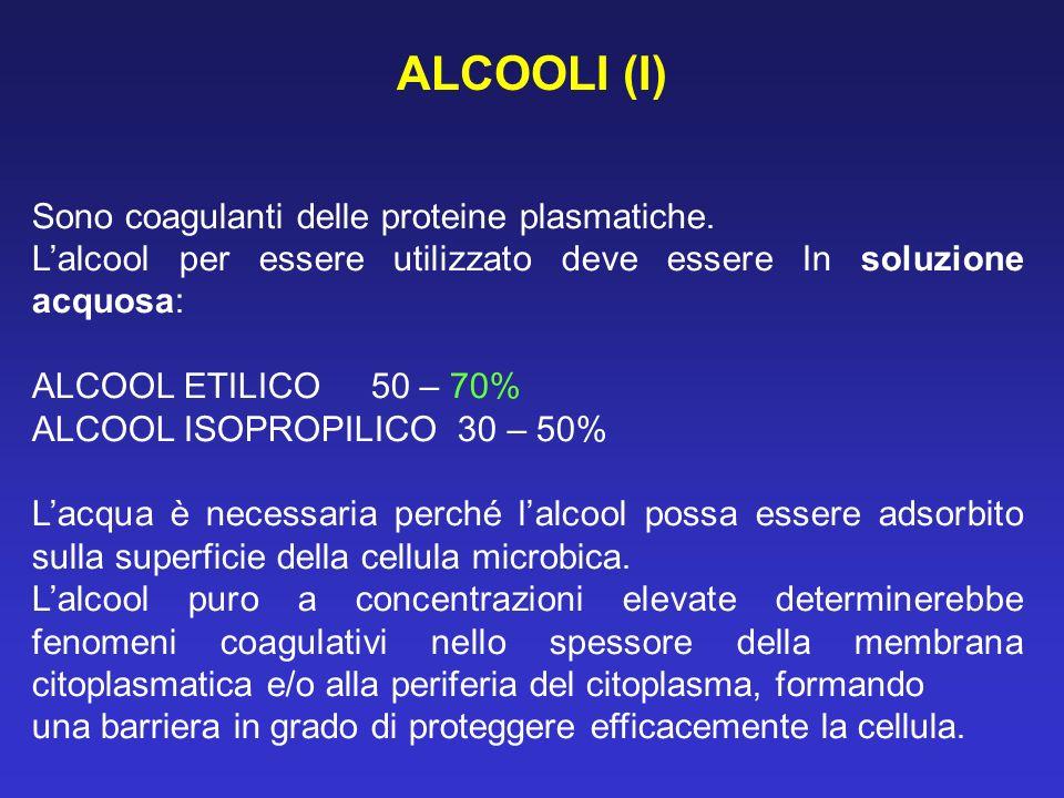 Sono coagulanti delle proteine plasmatiche. Lalcool per essere utilizzato deve essere In soluzione acquosa: ALCOOL ETILICO 50 – 70% ALCOOL ISOPROPILIC