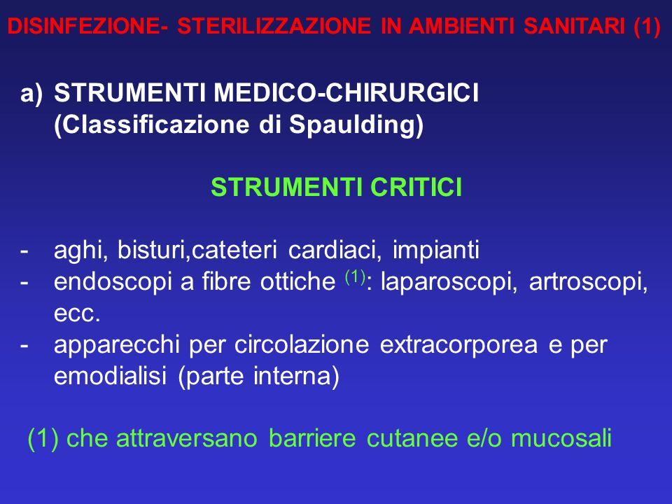 DISINFEZIONE- STERILIZZAZIONE IN AMBIENTI SANITARI (1) a)STRUMENTI MEDICO-CHIRURGICI (Classificazione di Spaulding) STRUMENTI CRITICI -aghi, bisturi,c