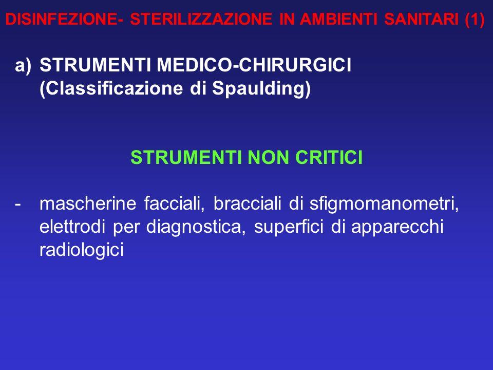 DISINFEZIONE- STERILIZZAZIONE IN AMBIENTI SANITARI (1) a)STRUMENTI MEDICO-CHIRURGICI (Classificazione di Spaulding) STRUMENTI NON CRITICI - mascherine