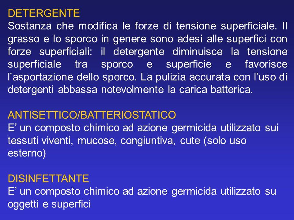 - cationici (cloruro di benzalconio): dotati di scarso potere detergente ma buoni batteriostatici e disinfettanti nei confronti di forme vegetative (attivi su Gram+, poco sui Gram-): alterano la membrana cit.