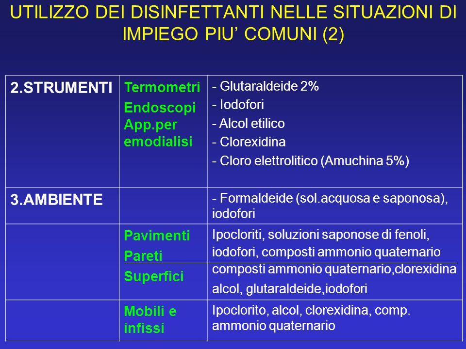 UTILIZZO DEI DISINFETTANTI NELLE SITUAZIONI DI IMPIEGO PIU COMUNI (2) 2.STRUMENTI Termometri Endoscopi App.per emodialisi - Glutaraldeide 2% - Iodofor