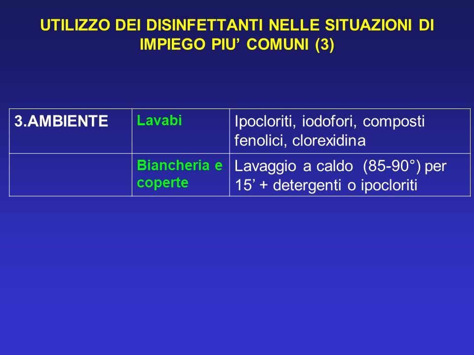 UTILIZZO DEI DISINFETTANTI NELLE SITUAZIONI DI IMPIEGO PIU COMUNI (3) 3.AMBIENTE Lavabi Ipocloriti, iodofori, composti fenolici, clorexidina Biancheri