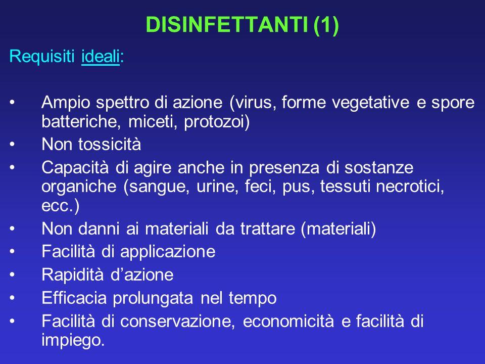 UTILIZZO DEI DISINFETTANTI NELLE SITUAZIONI DI IMPIEGO PIU COMUNI (3) 3.AMBIENTE Lavabi Ipocloriti, iodofori, composti fenolici, clorexidina Biancheria e coperte Lavaggio a caldo (85-90°) per 15 + detergenti o ipocloriti