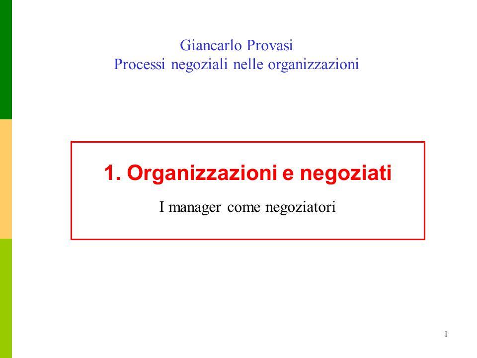 1 1. Organizzazioni e negoziati I manager come negoziatori Giancarlo Provasi Processi negoziali nelle organizzazioni