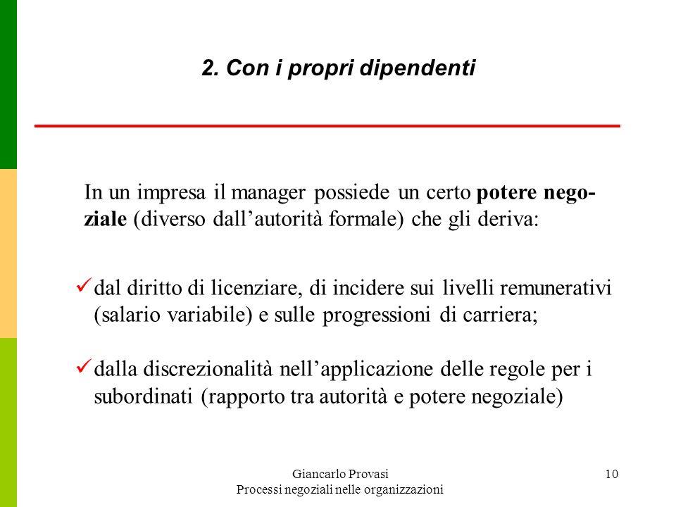 Giancarlo Provasi Processi negoziali nelle organizzazioni 10 dal diritto di licenziare, di incidere sui livelli remunerativi (salario variabile) e sul