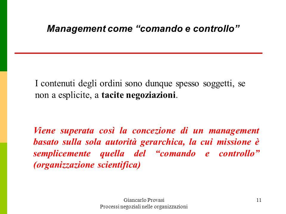 Giancarlo Provasi Processi negoziali nelle organizzazioni 11 I contenuti degli ordini sono dunque spesso soggetti, se non a esplicite, a tacite negozi